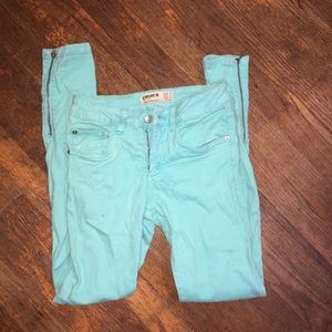 Cotton On turquoise jeans with zipper detailing